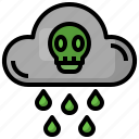 cloud, extreme, weather, climate, change, dangerous, death icon