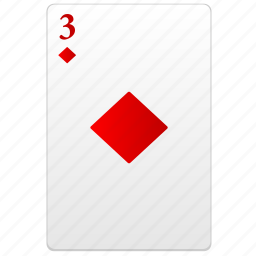 card, play, poker, red, three icon