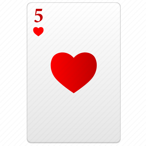 card, five, poker, red icon