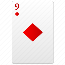 card, nine, poker, red, value icon