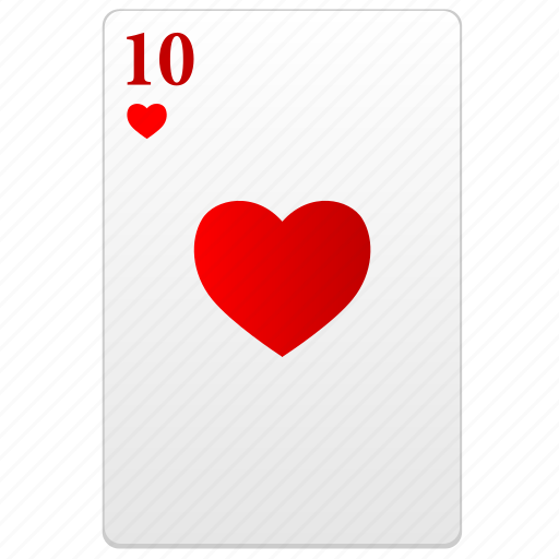 card, poker, red, ten icon