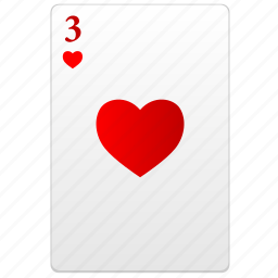 card, poker, red, three icon