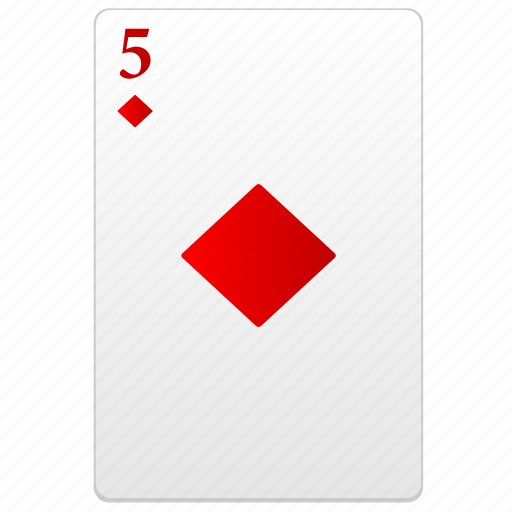 card, five, play, poker, red, value icon