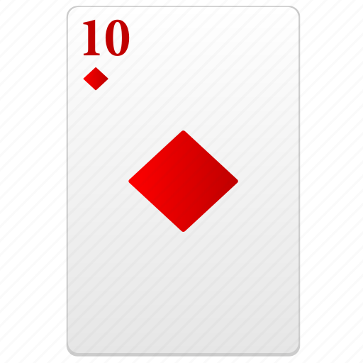 card, play, poker, red, ten, value icon