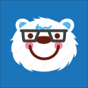 bear, face, nerd, smart icon