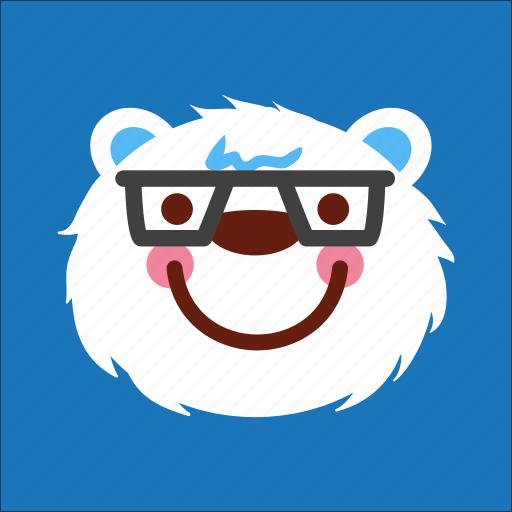 bear, face, nerd, smart icon