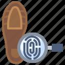 detective, evidence, fingerprint, glass, identification, interface, loupe