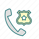 call, justice, law, police icon