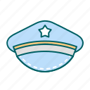 cap, justice, law, police icon