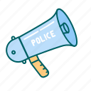 justice, law, megaphone, police icon
