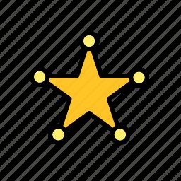 badge, chief, far west, police, sheriff, star icon