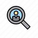 magnifying glass, man, people, police, search icon
