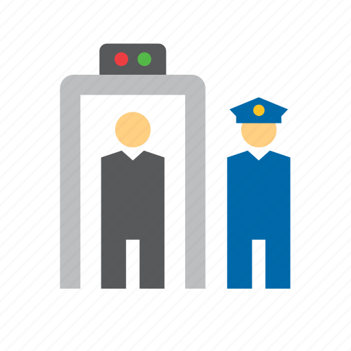airport, control, metal detector, officer, point, police, security icon