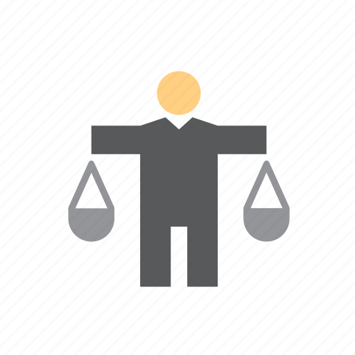 justice, law, man, people, police, scale, scales icon