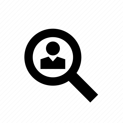 enforcement, law, magnifying glass, man, people, police icon