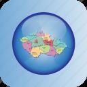 country, czech republic, europa, europe, map, maps, regions icon