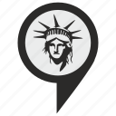 liberty, place, poi, pointer, statue, usa icon