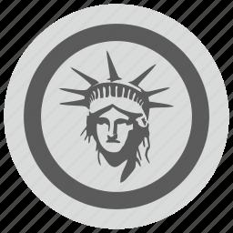 fire, liberty, light, round, usa icon