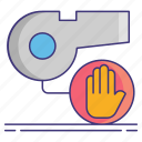 stop, stopping, whistle icon