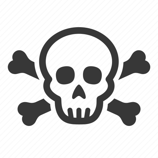 deadly skull, pollution, raw, simple, skull, symbol, waste icon