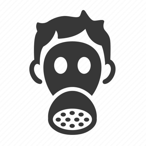 gas mask, pollution, raw, simple, waste icon