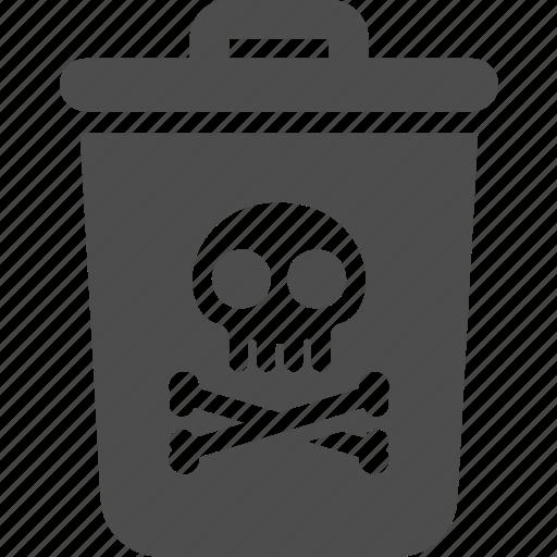 Bin, trash, poison, skull, pollution icon