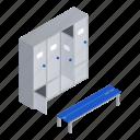 business, isometric, locker, pool, room, woman