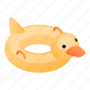 baby, duck, family, inflatable, isometric, ring icon