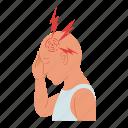 headache, boy, pain, head