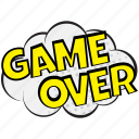 disappointment sound visual, game over, game over comic bubble, game over speech bubble, hopelessness pop art icon
