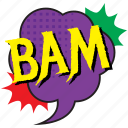 bam, bam bubble, bam comic balloon, bam pop art, blow comic bubble icon