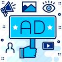 ad, advertisement, broadcast, media, player, video icon