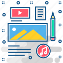 article, blog, cms, content, image, layout, media, video icon