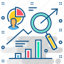 analytics, business, graph, search, statistics icon