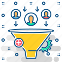 audience, filter, funnel, target icon
