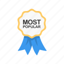 award, most popular, reward, ribbon icon