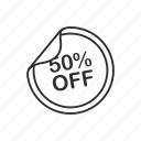 fifty, fifty percent off, percent, promo, sale, shop, store icon