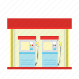 building, fire, fuel, gas, gas station, oil, oil station icon