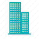 big building, blue building, building, city, company, factory icon