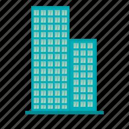 big building, blue building, building, city, company, factory icon