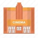 building, cinema, film, popcorn, theatre, ticket, watch icon