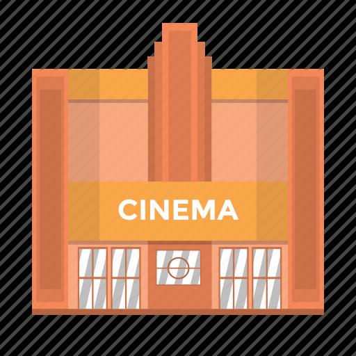 building, cinema, film, popcorn, theatre, ticket, watch icon