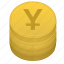 bank, coin, japan, money, stack, yen icon