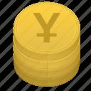 yen, money, japan, coin, stack, bank