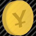 japan, coin, money, yen icon