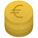 bank, cent, euro, money, stack icon