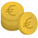 bank, coins, euro, money, stack icon