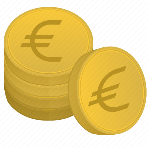 bank, coins, euro, money, stack icon