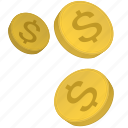 coins, dollars, metal, money, usd icon
