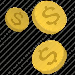coins, dollars, metal, money, usd icon